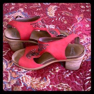Dansko sandals in red